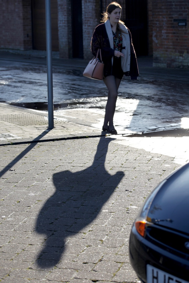 Shadow of young woman