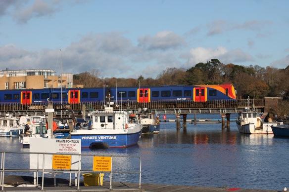 Train crossing harbour