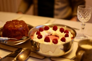 Trifle and ginger steamed pudding