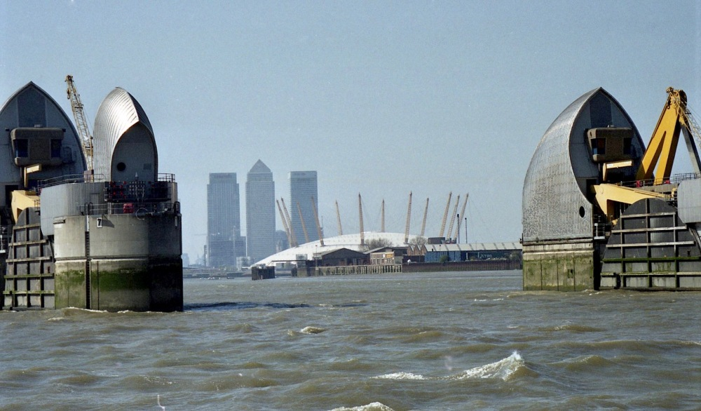 Thames Barrier, Millennium Dome, and Canary Wharf 6.4.02 1