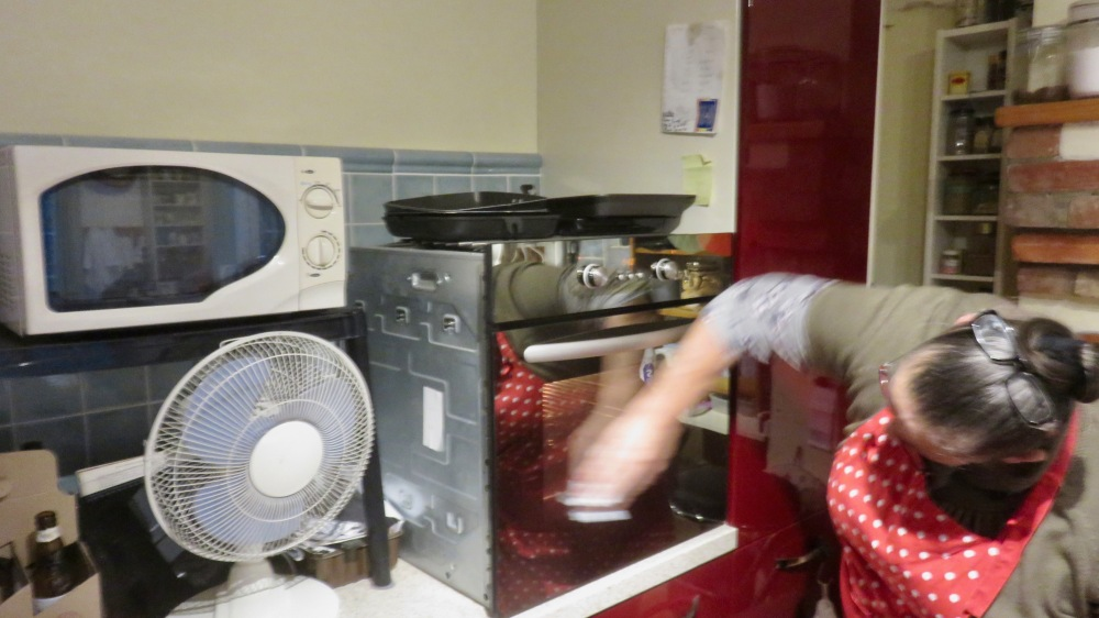 Jackie cleaning oven 1