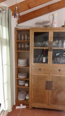 Kitchen cabinet and IKEA shelves