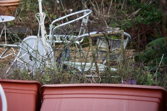 Overturned tubs, table, trellis