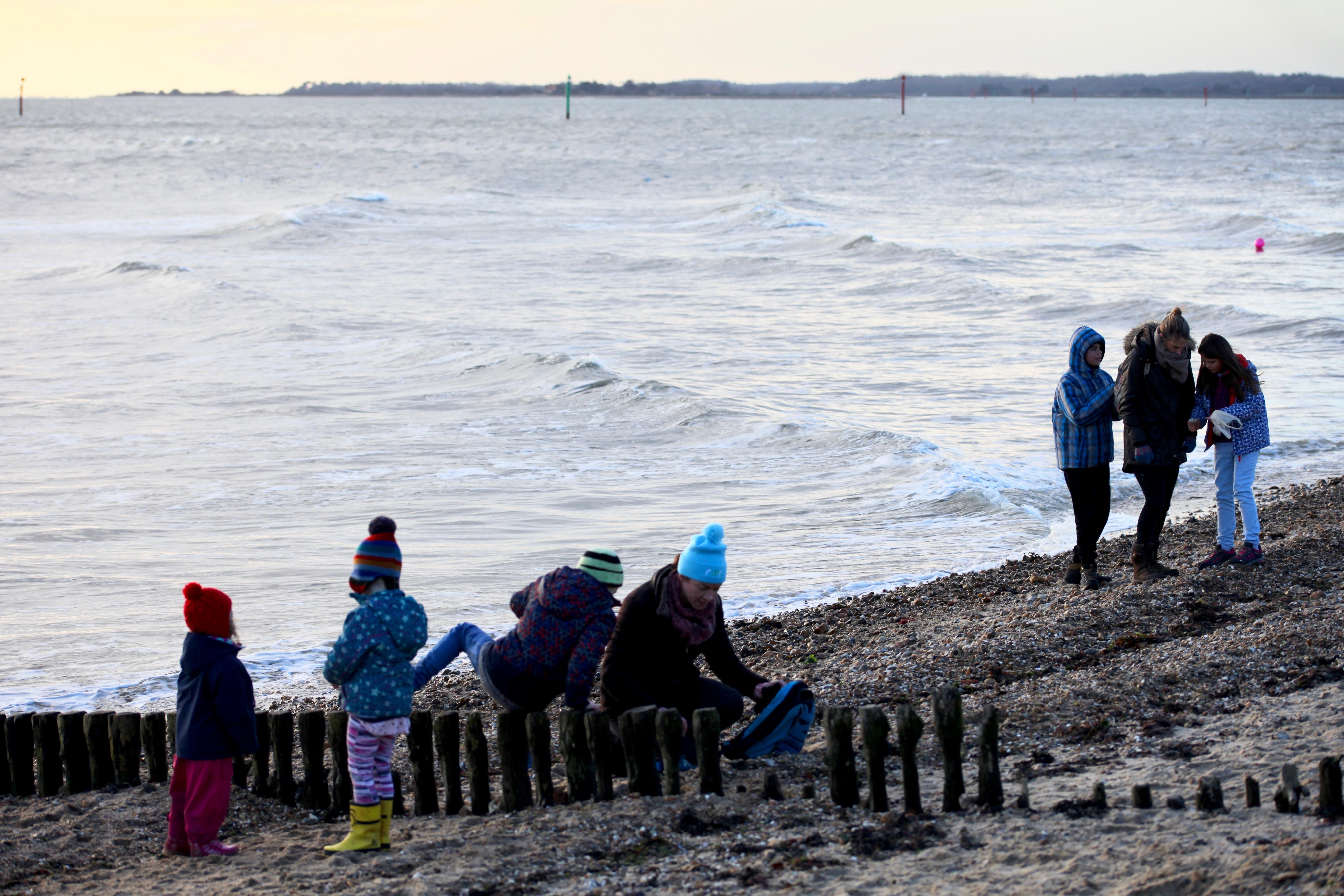groups on beach