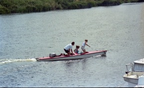 James, Louisa and Gemma in motor boat