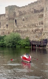 Sam passing Newark Castle