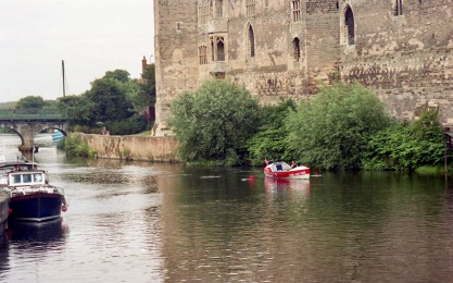 Sam passing Newark Castle