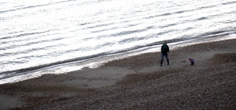 Man and boy on beach