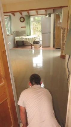 Connor completing screed