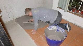 Andy applying screed