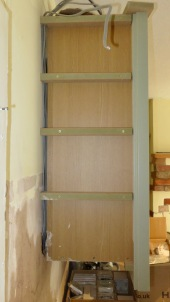 Battens on side of wall cupboard