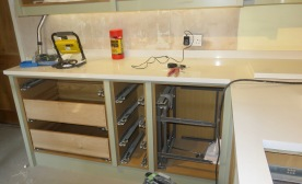 Worktop and cupboards