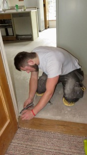 Conor preparing screed