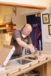 Richard making sink and draining board template