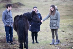 Flo, Dillon, Becky, pony