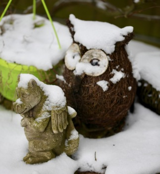 Owl and dragon with snow caps