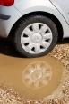 Hub reflected in pothole