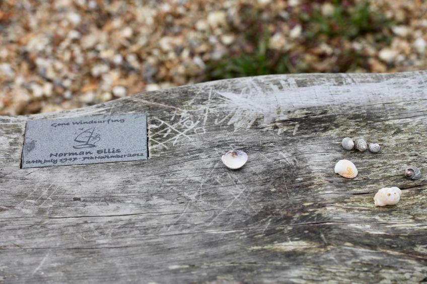 Memorial plaque and shells Norman Ellis