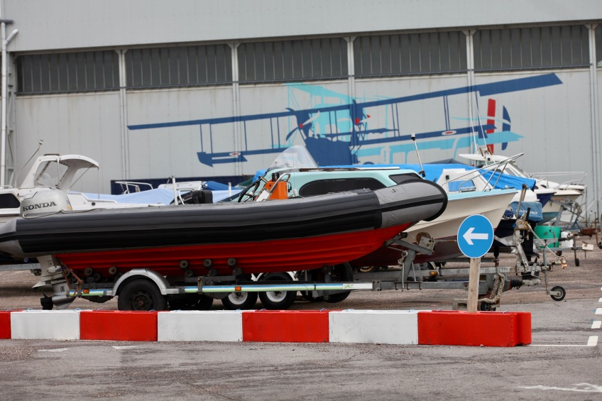 Boats beside Sunderland hangar