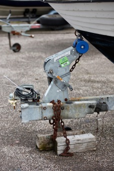 Boat trailer chained