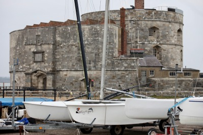 Yachts parked by Calshot Castle