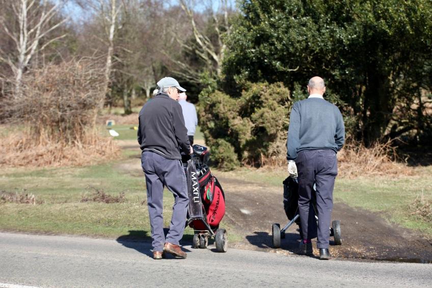 Golfers having crossed Burley Road