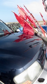 Flags reflected on bonnet