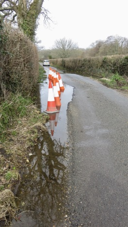 Barrows Lane, traffic cones, reflections