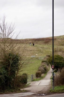 Walkers on Old Sarum Castle