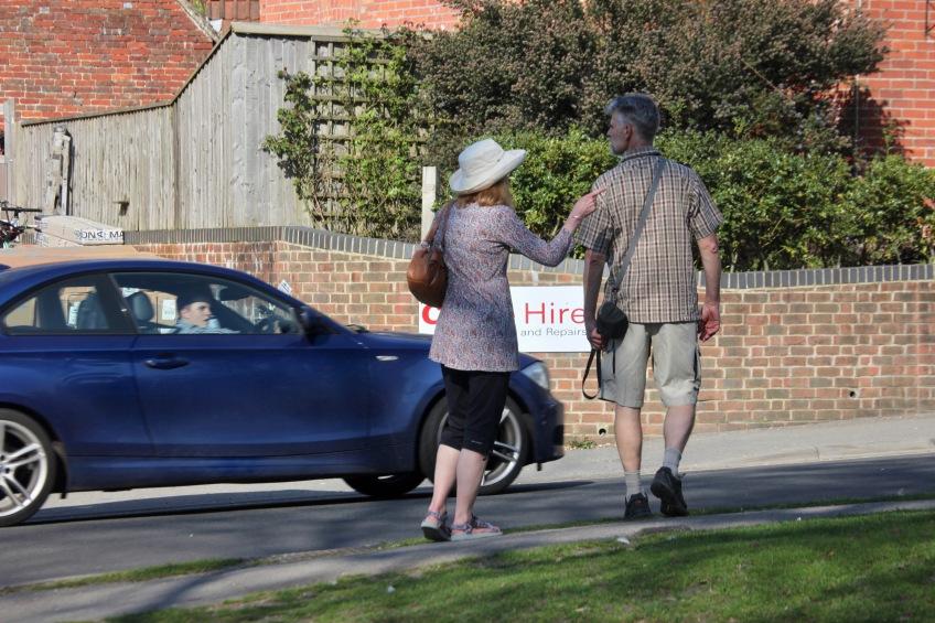 Pedestrian couple and car driver