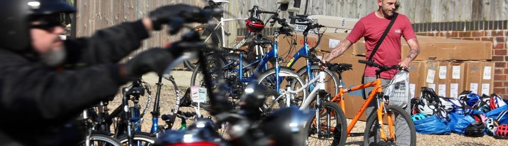 Cyclist and biker