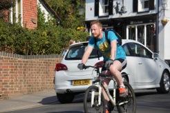 Cyclist and car