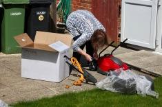 Elizabeth assembling lawn mower