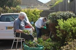 Derrick and Jackie gardening
