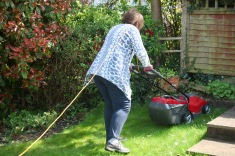 Elizabeth mowing