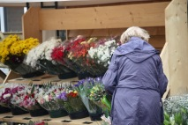 Woman selecting bouquet