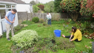 Andy, Jackie, Danni gardening