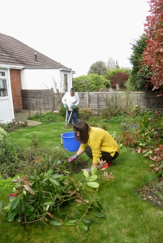 Danni and Jackie gardening