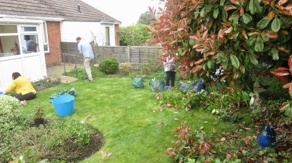 Danni, Andy, elizabeth (and Jackie) gardening