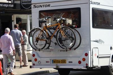 Caravan carrying bikes