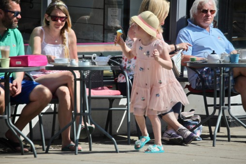 Child with blue ice cream