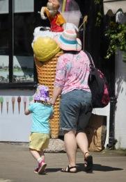 Woman, child, giant ice cream cone