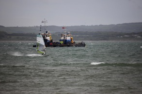 Water skier, sea defence boat, Isle of Wight