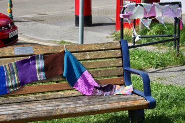 Bench decorated and bunting
