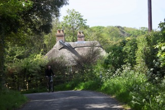 Thatched house and cyclist