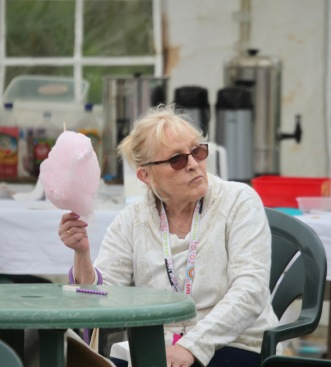 Woman with candyfloss