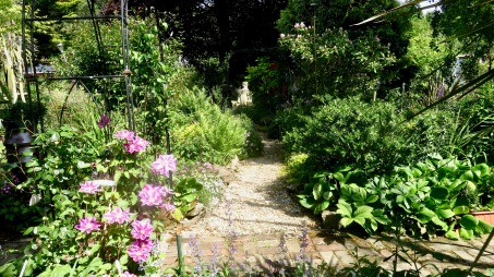 Garden view from Westbrook Arbour down Phantom Path