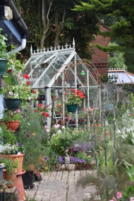 Hanging baskets and greenhouse