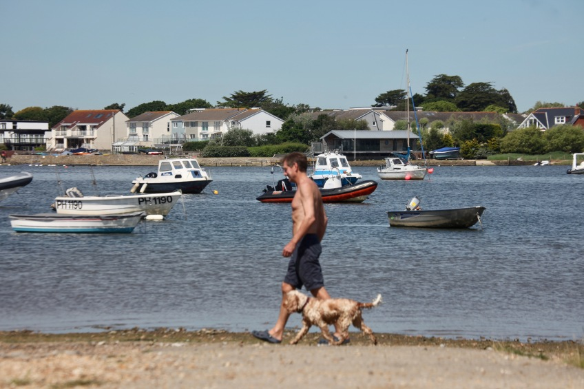 Boats and dog walker