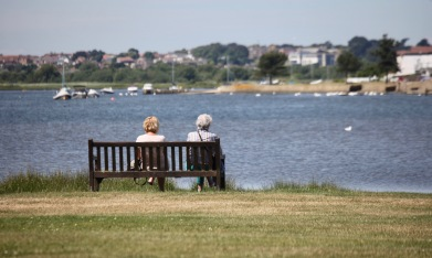 Two women on bench